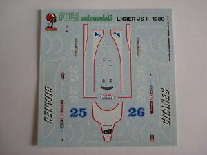 1/43 F1 DECALS CAR LIGIER JS 11 F1 1979 DEPAILLER-Lafitte F1 Car Collection FULL