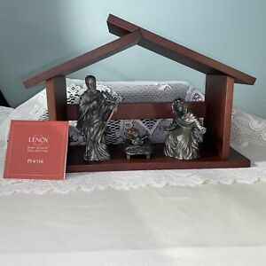 Lenox Kirk Stieff Pewter Nativity Set of 4 with Creche New In Box