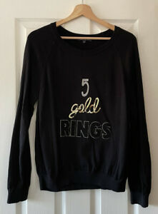 MARKS AND SPENCER M&S 5 GOLD RINGS XMAS CHRISTMAS JUMPER TOP UK 16