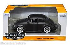 1959 VOLKSWAGEN BEETLE SATIN MATT GRAY W/BABY MOON WHEELS 1/24 BY JADA 97421