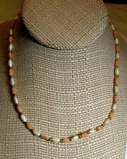 """Orange Coral and Faux Pearls DAINTY Necklace-16.5"""""""