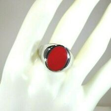 Men's Created Red Coral Inlay Solid Sterling Silver Dome Ring