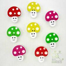 20pcs Mixed Multi-Colors Mushroom Wood Button/Flatback Lot 22x18mm Craft/Kids
