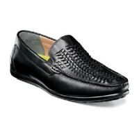 Florsheim Men's Driver Shoes Draft Moc Toe Woven Vamp Black Slip on 13311-001