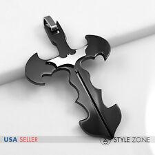 NEW Stainless Steel The Dark Night Batman Logo Symbol on Cross Pendant Black 13G