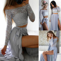 Elegant Women 2Pcs Lace Crop Tops Skirts Split Party Chiffon Dress Set Bandage