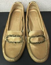 COLE HAAN Shoes Loafers Leather Gold Bronze, Slip-on Flats Size 7 B