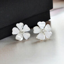 1 Pair Fashion Elegant Women Girl Crystal Pearl Rhinestone Ear Stud Earrings