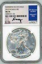 2012 W $1 Burnished Silver Eagle MS70 NGC Ed Moy
