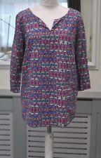 Lily & Me Ladies Loose Fit Top Blouse UK 14 Linen Viscose Blend 3/4 Sl.