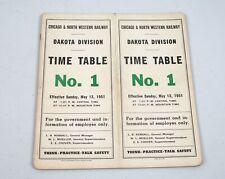Vintage 1951 Chicago & North Western Railway Dakota Division No. 1 Timetable