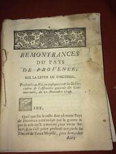 PROVENCE. REMONTRANCES SUR LA LEVÈE DU VINGTIÈME 1749