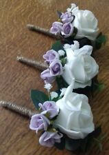 Wedding 3 x ivory rose buttonholes gypsophilia lilac rose bud, rope bound stem
