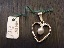 Pendentif Coeur Perle en Argent Poinçon Silver Silber