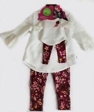 NWT Dollie & Me Girl's Matching Top and Floral Leggings Set, Ivory, Pick Size