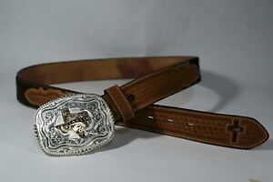 Texas western Silver Gold plated Buckle w/ Hide Belt sz 34