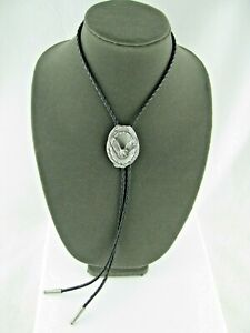 Vintage 1995 Fine Pewter Great American Products Eagle Black Cord Bolo Neck Tie