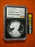 2018 W PROOF SILVER EAGLE NGC PF70 ULTRA CAMEO ER FROM CONGRATULATIONS SET BLACK