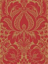 Wallpaper Large Red Damask on Metallic Gold Background