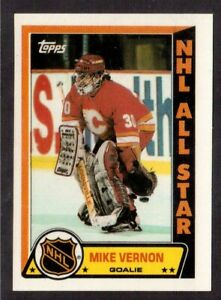 TOPPS 1989-90 STICKERS # 12 MIKE VERNON, CALGARY FLAMES !! D2