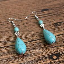 New Fashion Vintage Bohemian Style Blue Gem Turquoise Drop Earrings Jewelry