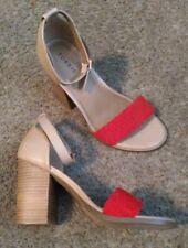 Torrid Size 12W Tan Cognac Red Braided Strap Block Heels Wide Width