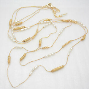 Chico's jewelry gold plated small faux pearl beaded double chain long necklace