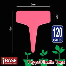 120x Plant Marker T-type Garden Labels Plastic Tags Nursery Seed 10x6 Cm Pink