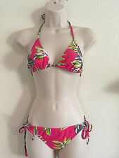 Xhilaration Swimsuit Hot Pink Gray Green Floral String Bikini Top S Bottoms M