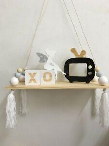 Wooden Beads Tassels Wall Hanging Board Room Nursery Decor Crafts Storage Shelf