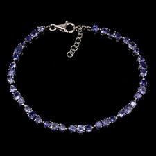 Sterling Silver Bracelet Blue Tanzanite Genuine Natural Gems 7 to 8 1/2 Inch
