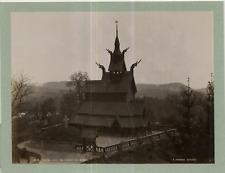 Knudsen, Danemark, Fantoft Stave Church Vintage albumen print Tirage albuminé