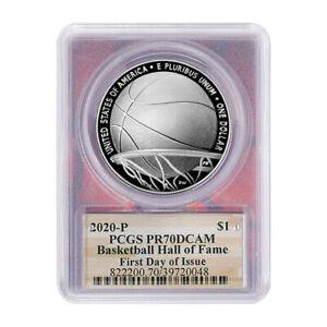 2020-P $1 Proof Basketball Hall of Fame Silver Dollar PCGS PR70DCAM FDOI