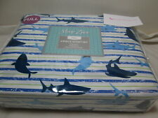 New Sleep Zone Full Sheet Set SHARKS and STRIPES ~ Blue, Navy, White and Green
