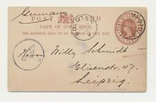 CAPE OF GOOD HOPE -GERMANY 1906, MPOTULA-LEIPZIG, BOLOTWA TRANSIT, 1d CARD