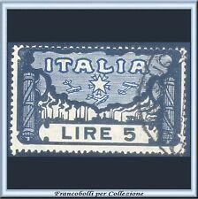 1923 Italia Regno Marcia su Roma Lire 5 azzurro e nero n. 146 Usato
