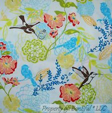 BonEful Fabric FQ Cotton Quilt Cream Blue Pink Spring Flower Humming*bird Toile