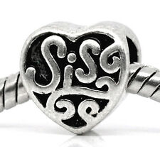 Sis Sister Heart Love Family Word Brother Gift Charm for European Bead Bracelets