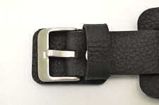 Bikers Black Wide Genuine Leather Watch Band strap Punk Rock Skaters cuff  22mm