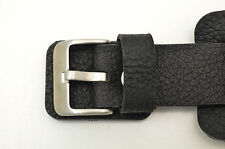 22MM Bikers Black Wide Genuine Leather Watch Band strap Punk Rock Skaters cuff