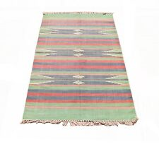 """4'0"""" x 6'0""""ft. Contemporary vegetable dye hand knotted wool oriental kilim"""
