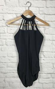 BALERA Womens Black High Strappy Halter Neck Dance Leotard Size XL