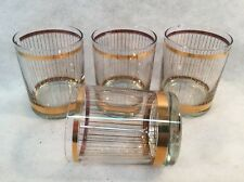 GEORGE BRIARD Gold Stripes Double Old Fashioned Glasses Set of 4