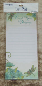 """LEANIN TREE """"Count Your Blessings""""~Dragonflies~Magnetic List NotePad~#61739"""