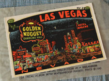 LAS VEGAS ORIGINAL VINTAGE TRAVEL DECAL OLD HOT ROD TRAILER LUGGAGE NEVADA RV VW
