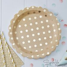 KRAFT PAPER PLATES - Brown with Gold Foiled Spotty/Polka Dot Design-Luxury Party