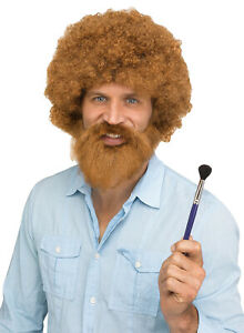 Mens Groovin' Guy Wig Beard Set Funny Happy Painter Halloween Costume Accessory