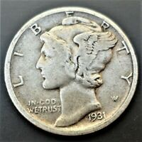 1931 P  Mercury Dime circulated 90% Silver  VF  to Extra Fine XF