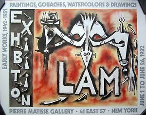 Original Lam Exhibition Poster, 1982, Color Lithograph