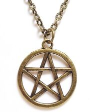 """PENTAGRAM_Bronze Pendant on 20"""" Chain Link Necklace_Wiccan Pagan Pentacle_278N"""